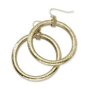 2 1/2in Brass tone Hoop Dangle Earrings/Mixed Metal Jewelry
