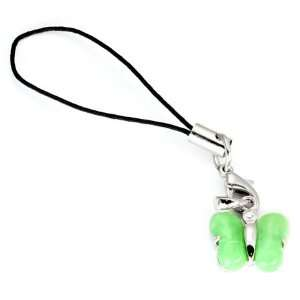 925 Sterling Silver with GREEN JADE BUTTERFLY Mobile Cell Phone Charm