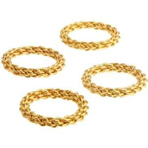 DII Gold Finish Braided Rope Napkin Ring in Acetate Box
