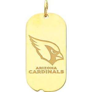 14K Gold NFL Arizona Cardinals Logo Dog Tag Charm:  Sports