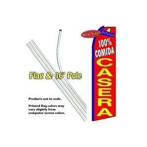 100% Comida Casera Feather Banner Flag Kit (Flag & Pole