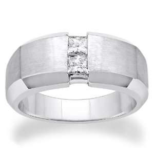 14K White gold 0.5cttw Double Princess Cut Diamond Ring Jewelry