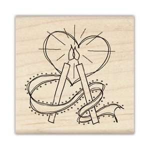 Wedding Candles Wood Mounted Rubber Stamp
