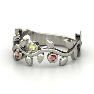Ring with Three Gems, Sterling Silver Ring with Peridot & Red Garnet