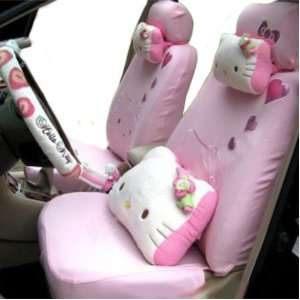 Pink Kitty Auto Car Front Back Saddle Seat Cover kit EMS ZJ000147
