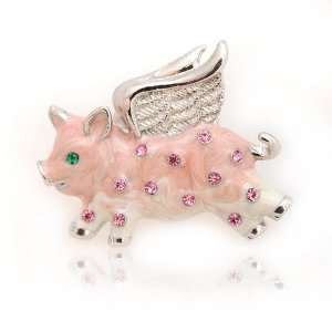 Crystal Embedded Flying Pink Pig Tack Pin