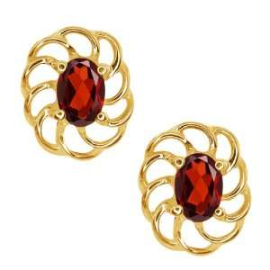 1.10 Ct Oval Red Garnet 10k Yellow Gold Earrings Jewelry