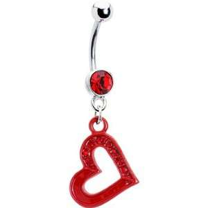 Red Gem Hollow Swinging Heart Belly Ring Jewelry