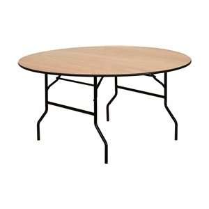 Flash 60 Round Wood Folding Banquet Table   Clear Coat