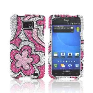 Samsung Galaxy S2 Pink Hot Pink Flowers Silver Bling Hard Plastic Case