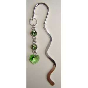 Mini Silver Bookmark with Green Swarovski Crystal Office
