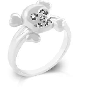 White Gold Rhodium Bonded Skull Ring with Clear CZ Accents