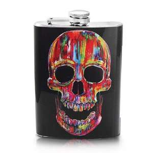 Screw on Top Stainless Steel Wine Hip 8oz Flask   Bloody Skull Design