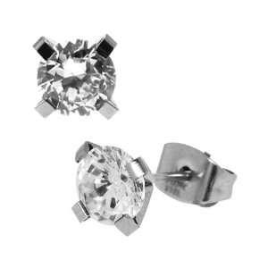 Jewelry 316 Stainless Steel Circular cz Stud Earrings  6mm Jewelry