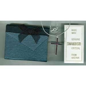 NIB Swarovski Amethyst Cross Necklace Arts, Crafts