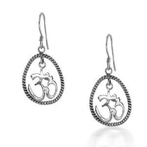 Bling Jewelry Sterling Silver Symbol Om Aum Dangle Earrings [Jewelry]