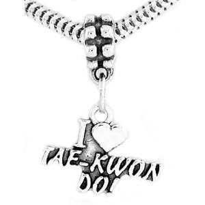 Sterling Silver I Love Tae Kwon Do Dangle Bead Charm Jewelry