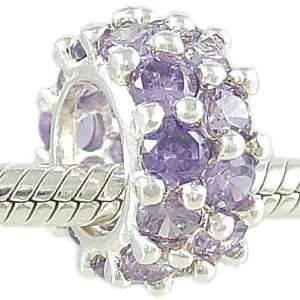 Tanzanite CZ and 925 Sterling Silver Bead fits European