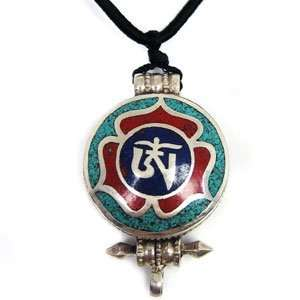 Giant Om Tibetan Silver Pendant (with Hidden Compartment