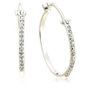 14k White Gold Diamond Hoop Earrings (.15 cttw, J Color
