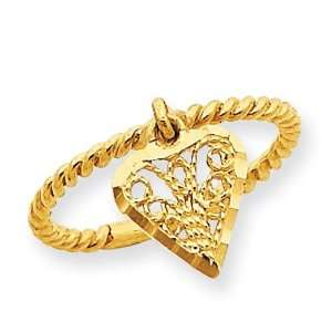 Dangle Heart Ring in 14k Yellow Gold Jewelry