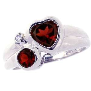 14K White Gold Heart and Round Gemstone Ring with Diamond