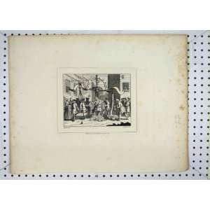 Antique Print 1808 Street Scene Weigh Machine Spiller