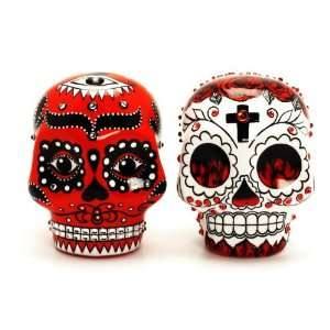 Red Gothic Skull Dia De Los Muerto wedding cake topper Day of The Dead