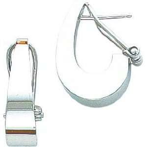 White gold J Hoop Earrings Polished Jewelry New F