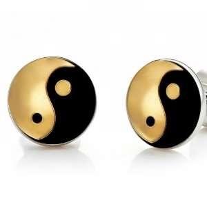 Mens Yin & Yang Stainless Steel Metallic Stud Earrings