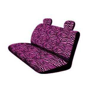 New Style Pink Zebra 4pc Bench Seat Cover with Head Rests Automotive