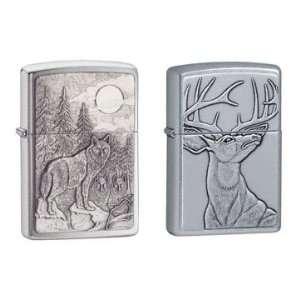 Zippo Lighter Set   Timberwolves Pewter Emblem and Deer Emblem, Pack