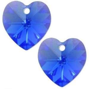 2 Sapphire AB Swarovski Crystal Heart Charm 14mm New