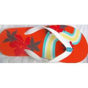 Men Boy Size Medium 5 6, White, Summer Beach Flip Flops