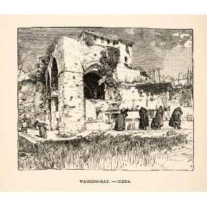 1886 Wood Engraving Washing Day Laundry Siena Italy Women