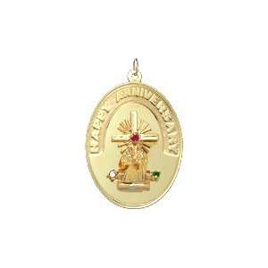 Happy Anniversary Couple on Altar on Oval Disc, 14K White