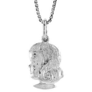 Silver 9/16 in. (15mm) Tall Girls Head Pendant (w/ 18 Silver Chain