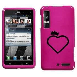 MOTOROLA DROID 3 XT862 BLACK CROWN HEART ON PINK HARD CASE