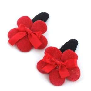 Red / Toddler/Girl/Teenager Flower Shaped with ribbon Bow Hair Clip