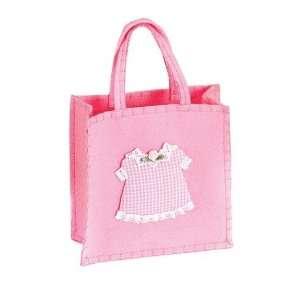 Baby Girl Gingham Dress Pink Felt Bag Party Favor Tote