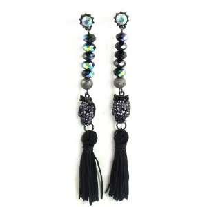 Betsey Johnson Jewelry Dark Forest Skull Tassel Earrings Jewelry