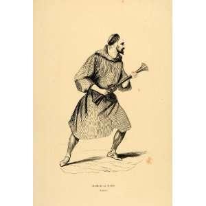 1844 Engraving Costume Arab Man Gun Algeria Algerian