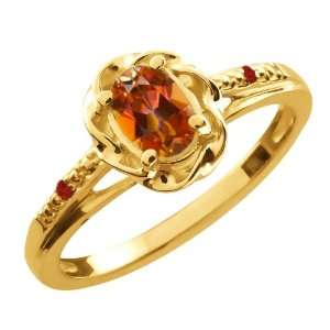 Ct Oval Ecstasy Mystic Topaz Red Garnet 10K Yellow Gold Ring Jewelry