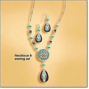 Avon Turquoise colored and Brown Medallion Necklace Gift