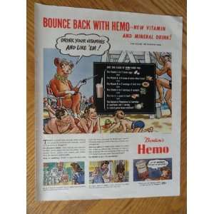 Bordens Hemo, Vintage 40s full page print ad. Color Illustration
