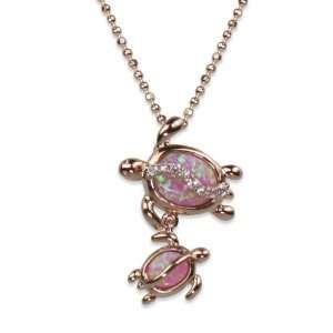 Mom and Baby Turtle Pink Opal Necklace Pendant w/ Rose Gold Finish and