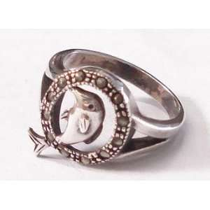 Jumping Dolphin Silver Ring (Size 8): Everything Else