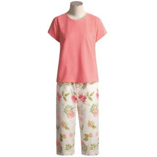 Crabtree & Evelyn Turkish Cotton T Shirt Pajamas   Short Sleeve (For