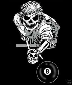 BALL SKELETON POOL PLAYER CUE STICK SKULL T SHIRT 147