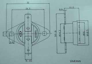 NC Thermostat Temperature Switch Bimetal Disc 105℃, x10